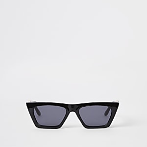 Black smoke lens visor sunglasses
