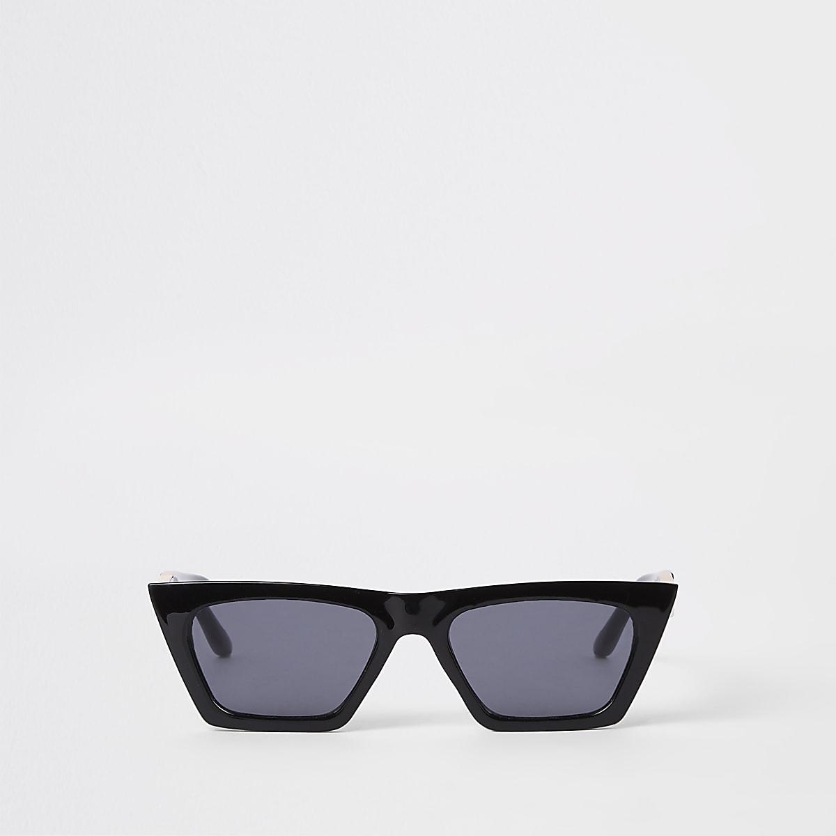 Lunettes de soleil masque noires avec verres miroir