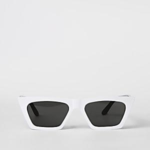 Lunettes de soleil masque blanches à fine monture