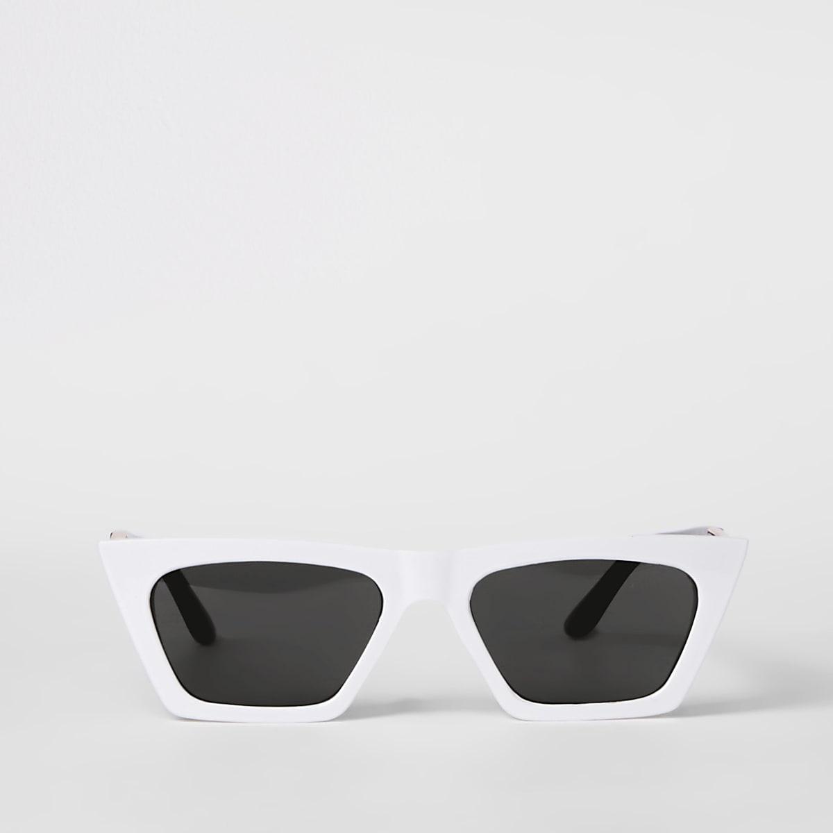 White slim visor sunglasses