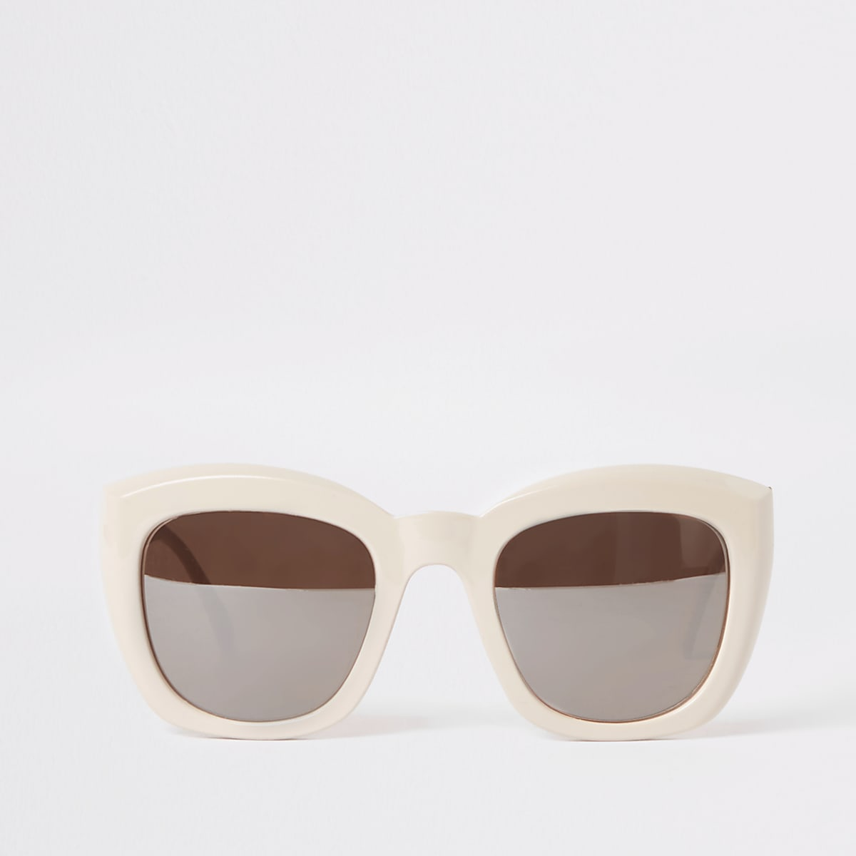 Beige square glam sunglasses