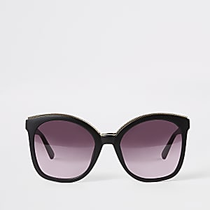 Black gold trim matte glam sunglasses