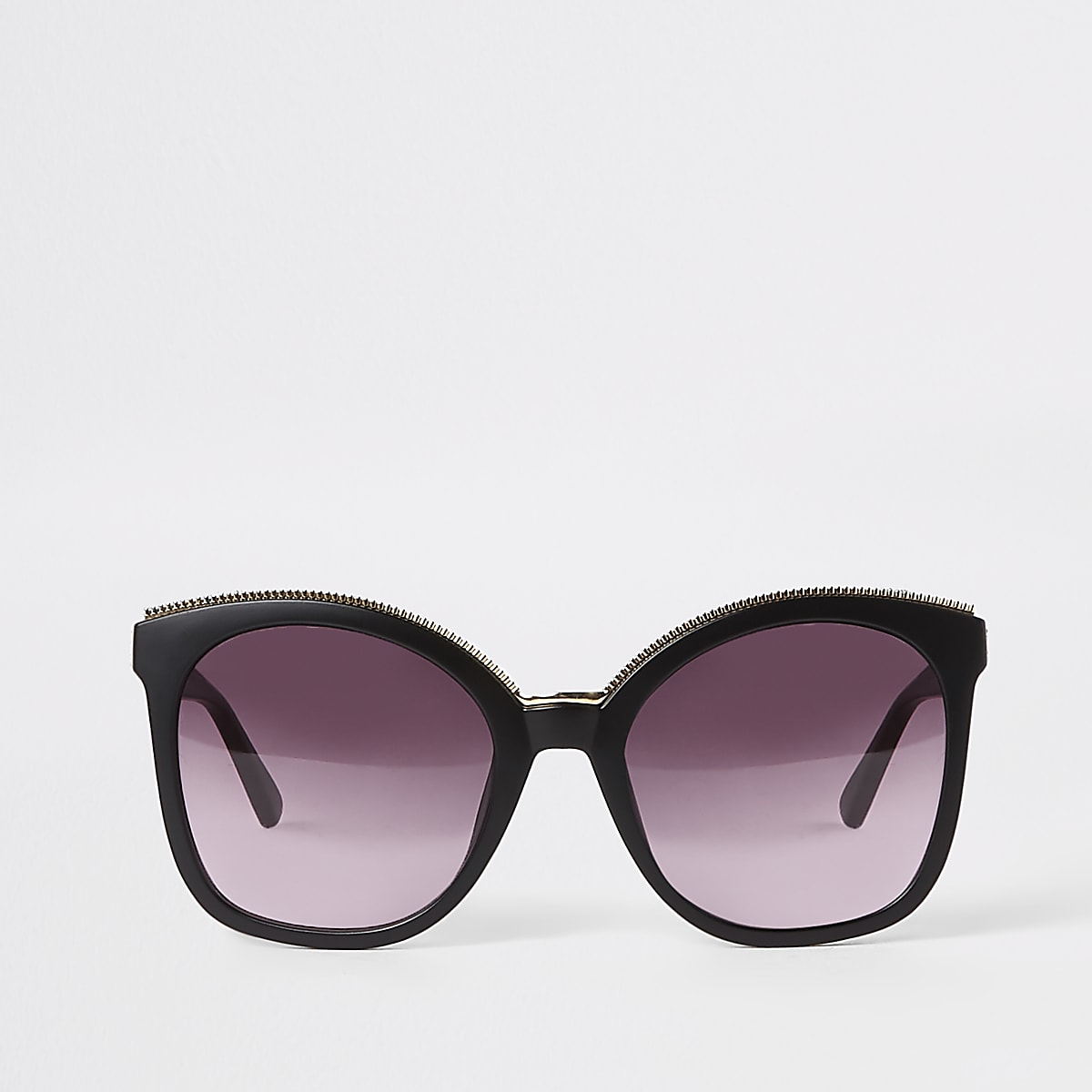 Black gold trim matte glam sunglasses