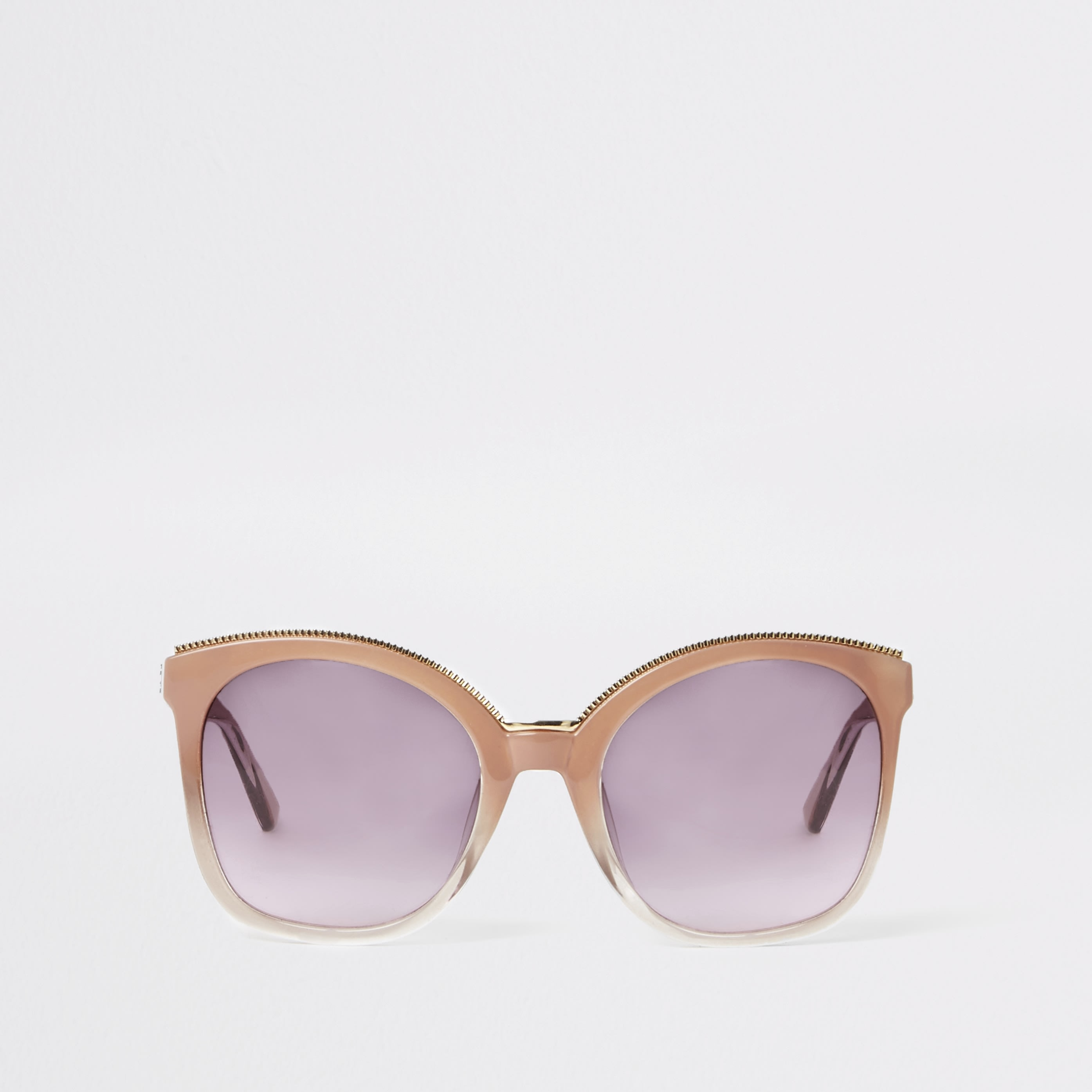 RIVER ISLAND | Womens Pink Oversized Glam Sunglasses | Goxip