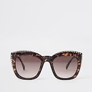 Bruine tortoise zonnebril met siersteentjes