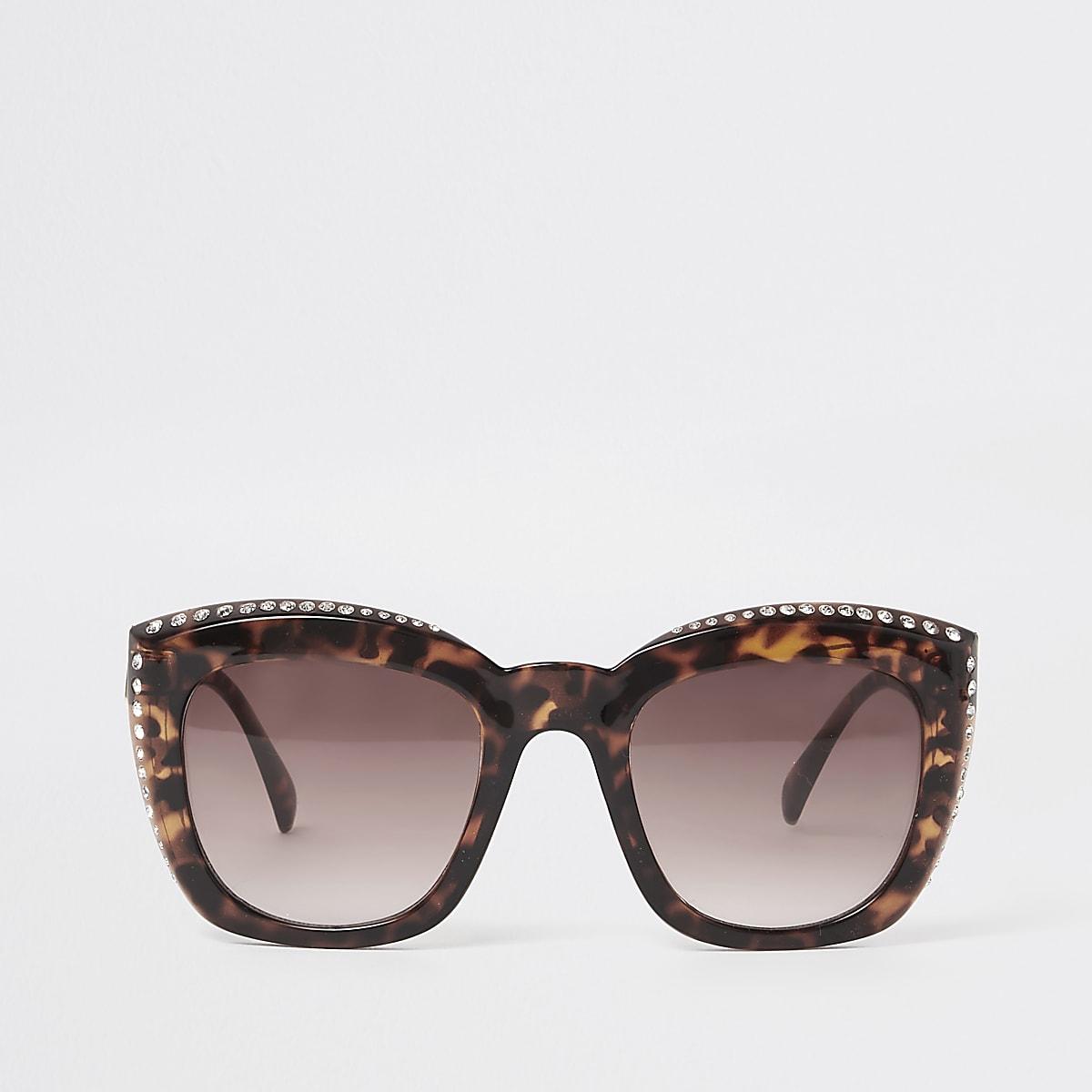 Brown tortoiseshell diamante sunglasses
