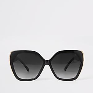 Zwarte zeshoekige glamoureuze zonnebril