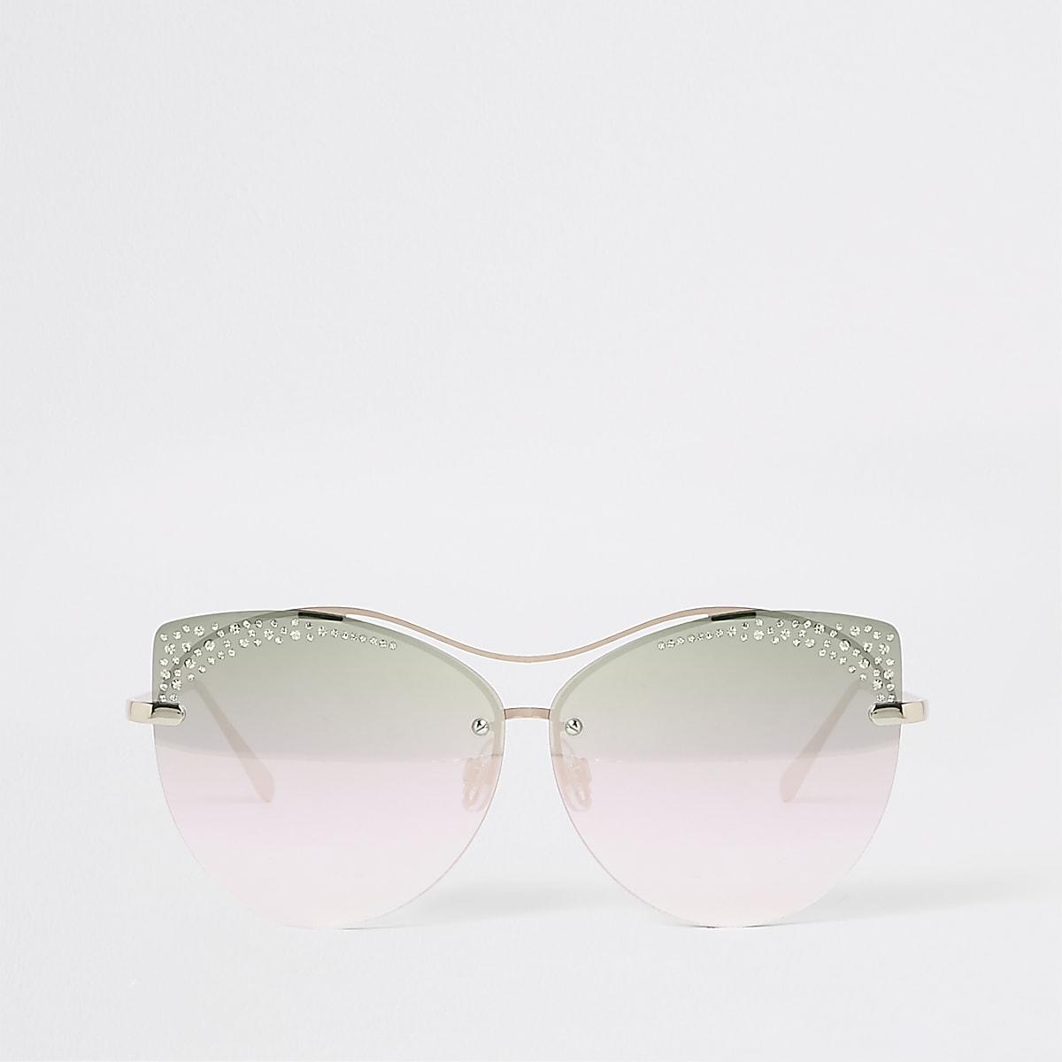 Gold tone diamante glam sunglasses