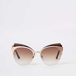 Lunettes de soleil yeux de chat écaille de tortue roses