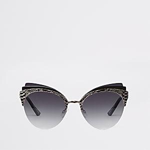 Gold colour triple layer cat eye sunglasses