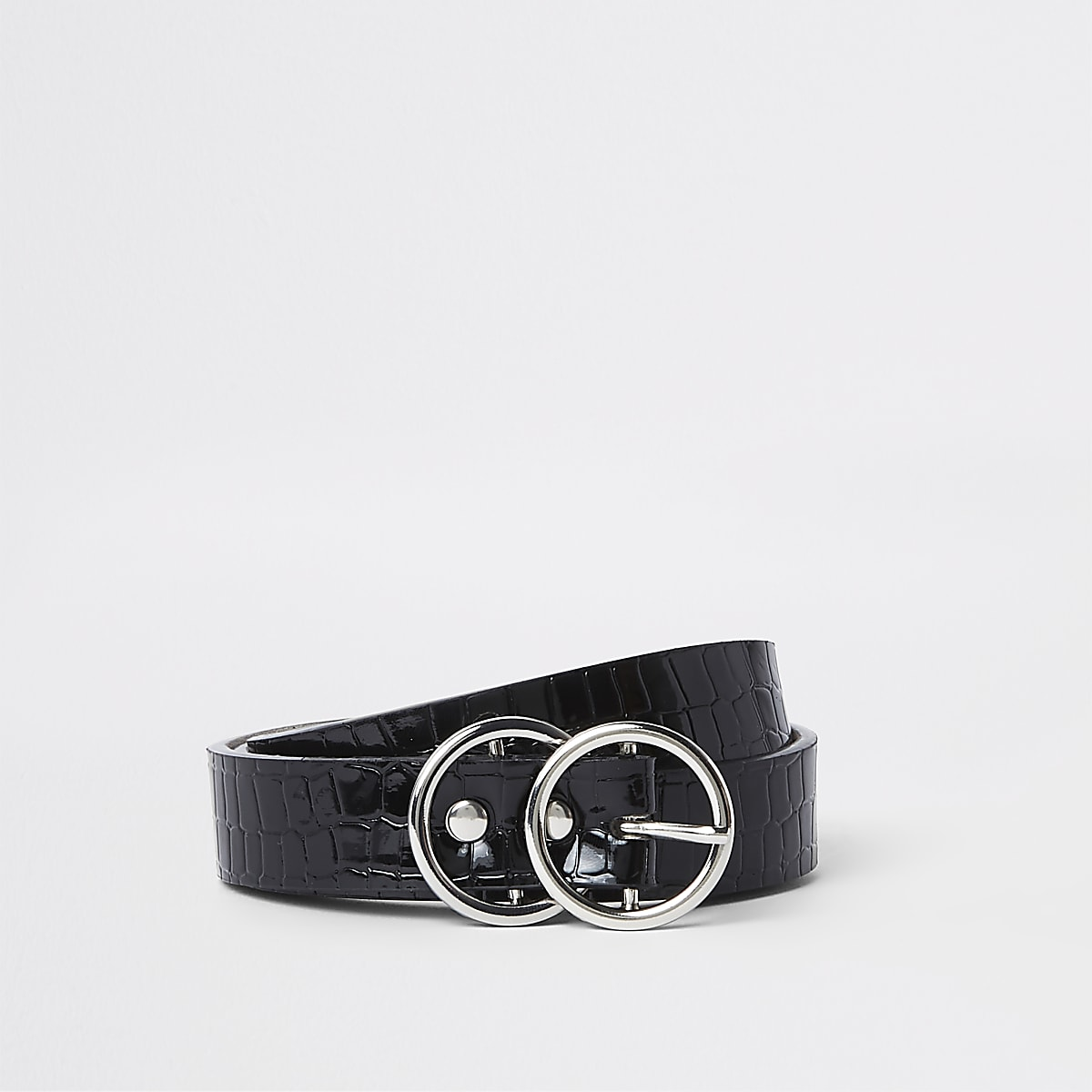 Black croc embossed double ring mini belt