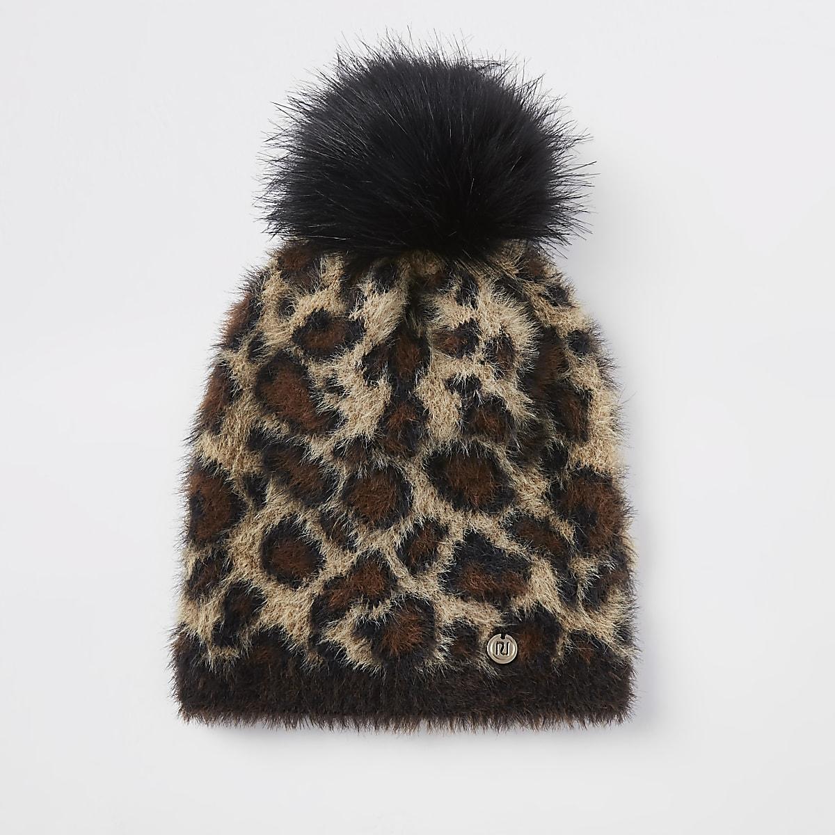 Bonnet imprimé léopard beige à pompon