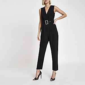 14cd3c5a1099 Black wrap tie waist tapered leg jumpsuit
