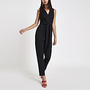 8a1e318bff Black sleeveless tie waist jumpsuit