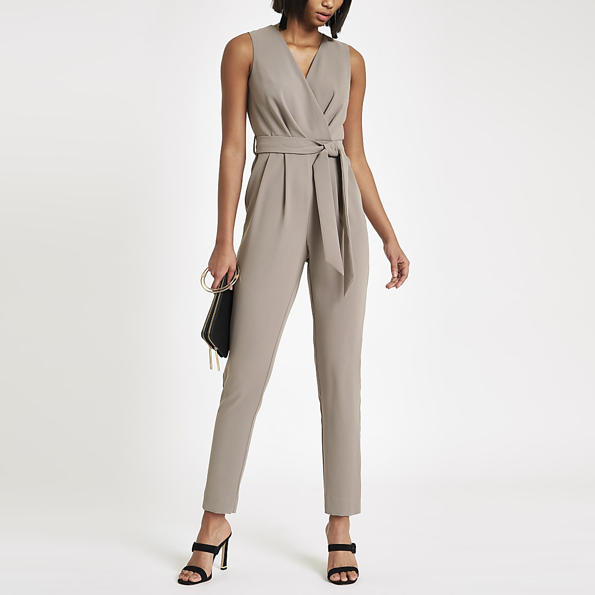 Dark grey wrap front tie waist jumpsuit