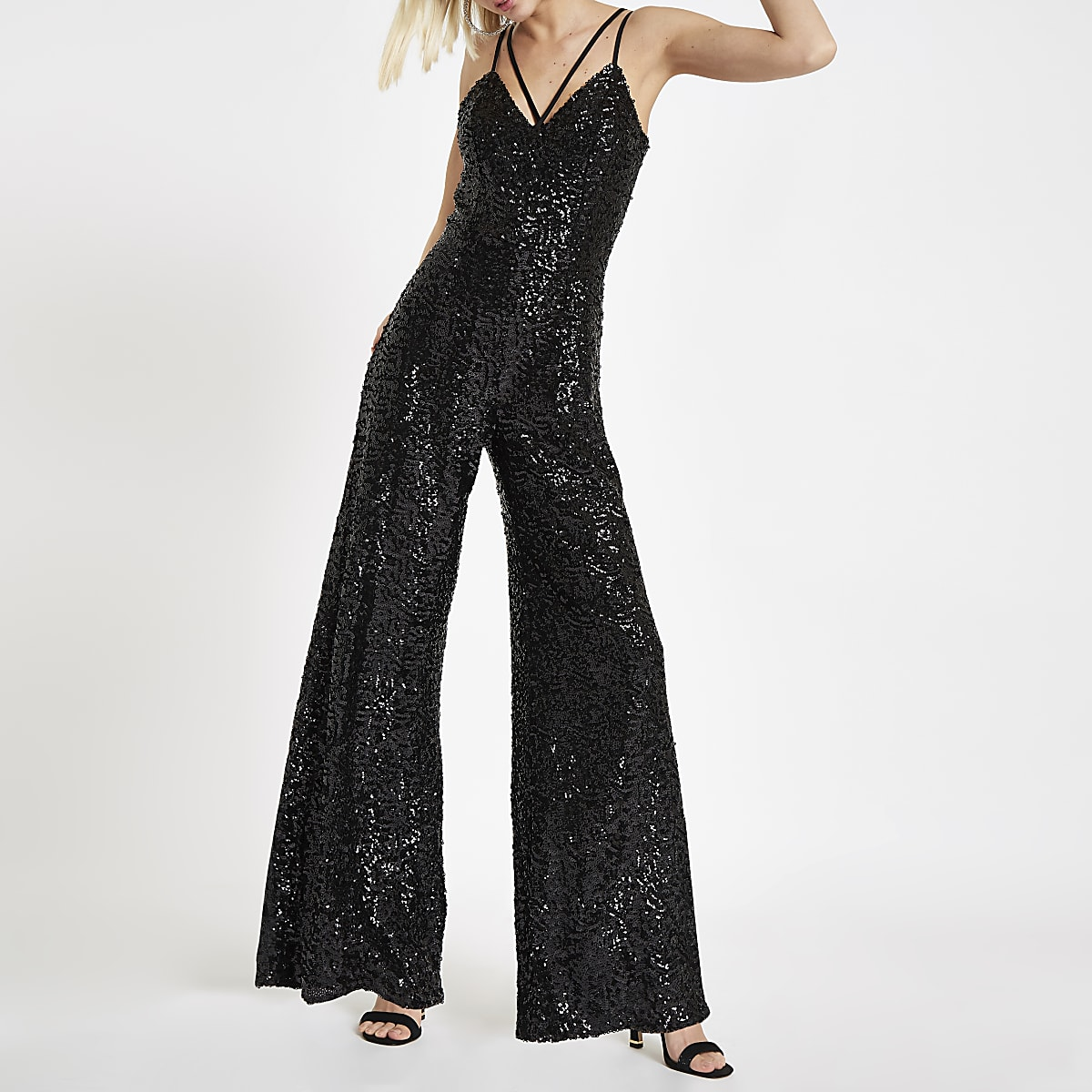 Black sequin cami strap jumpsuit