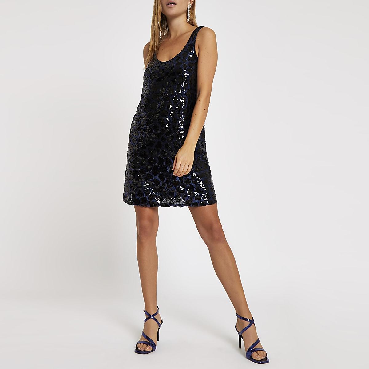 Blauwe verfraaide jurk met pailletten