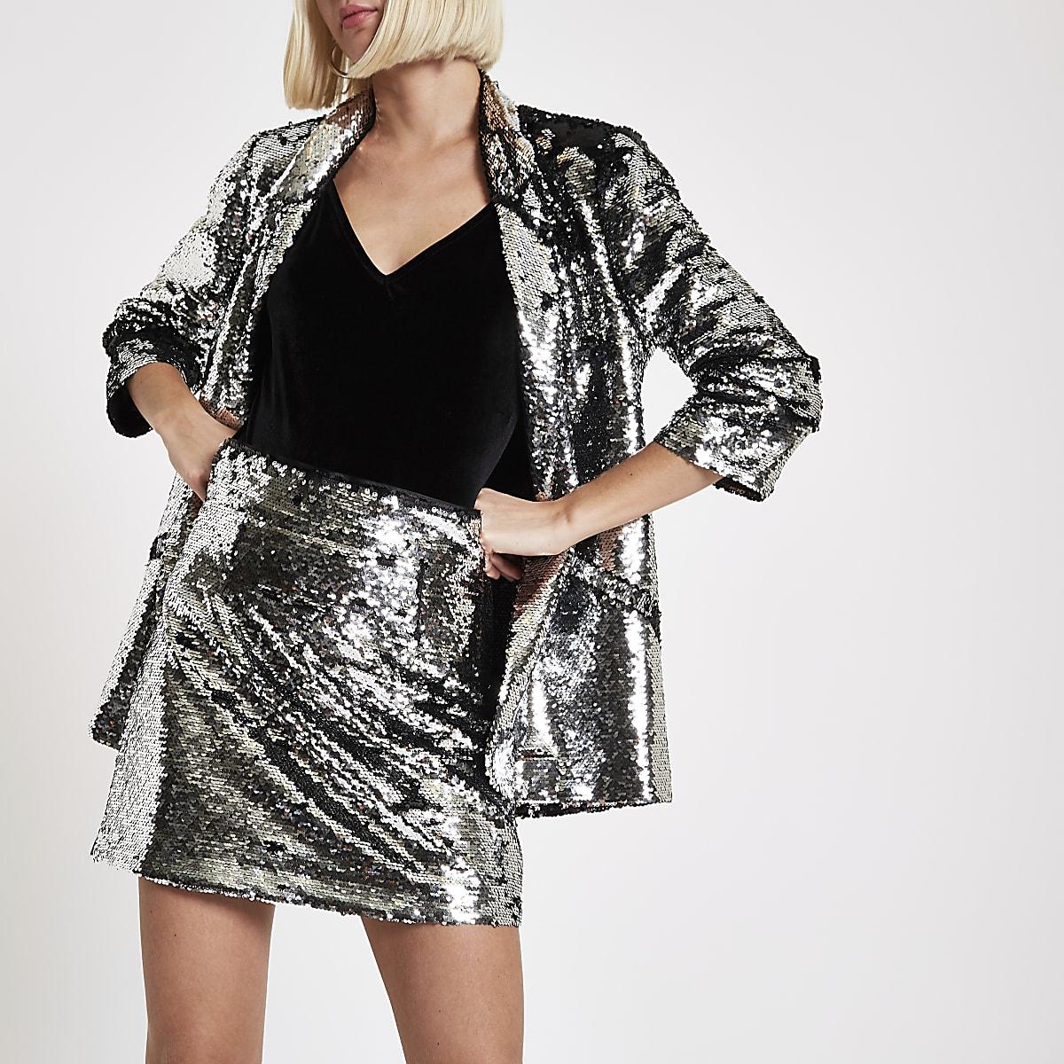 Silver sequin embellished mini skirt