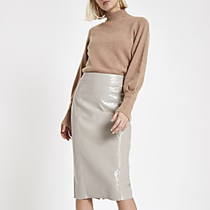 Grey vinyl split hem pencil skirt