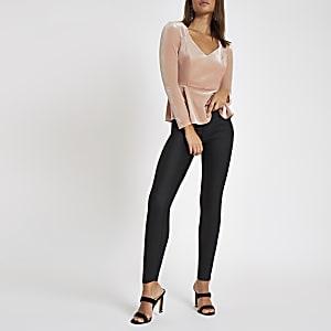 Pink velvet V neck long sleeve top