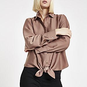 Koperkleurig overhemd met strik voor