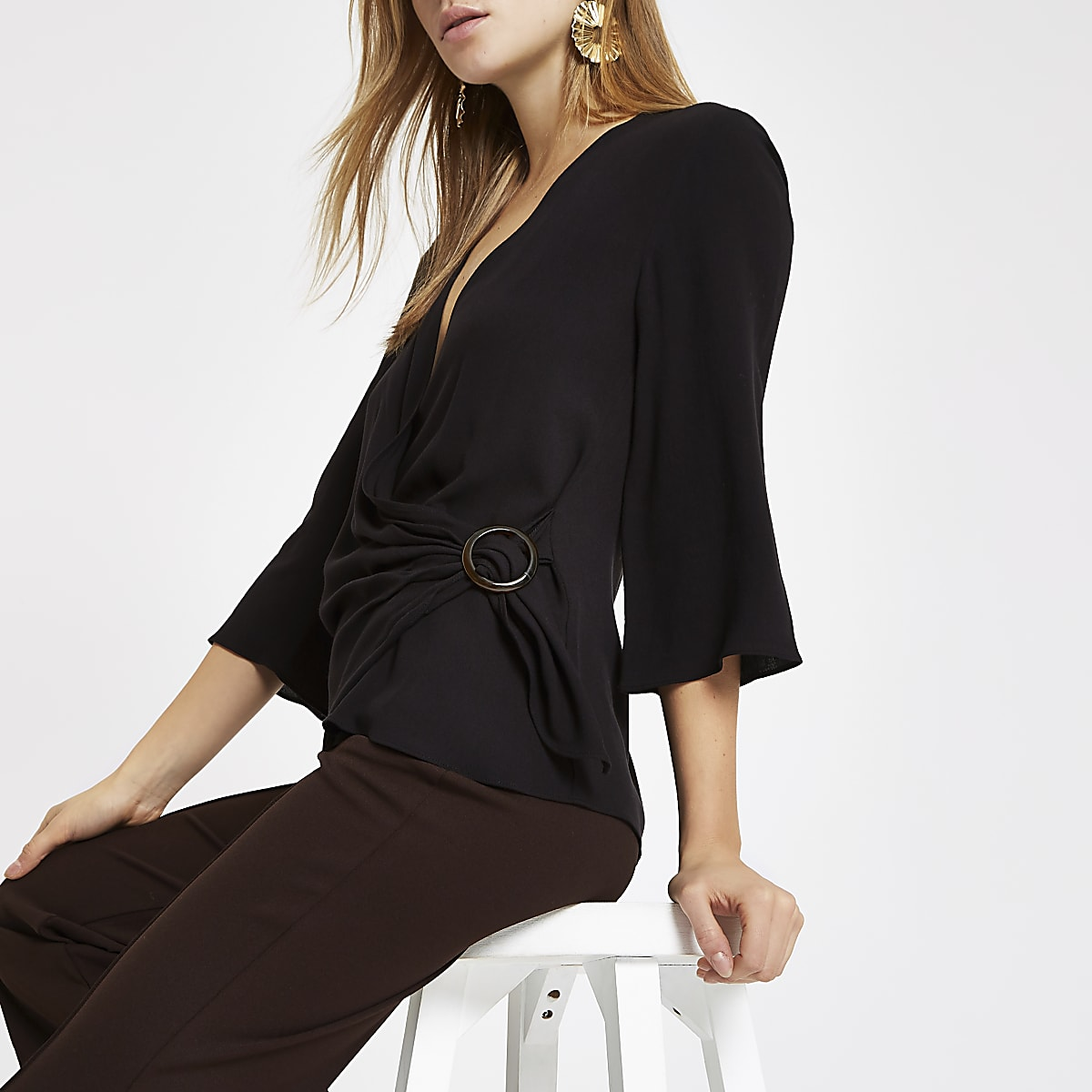 Black tie front ring blouse