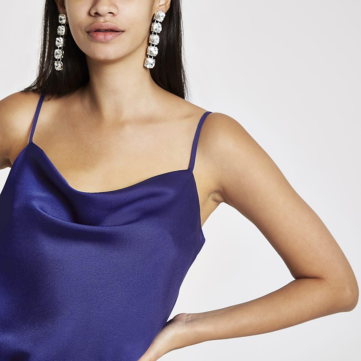 Blue cowl neck cami top