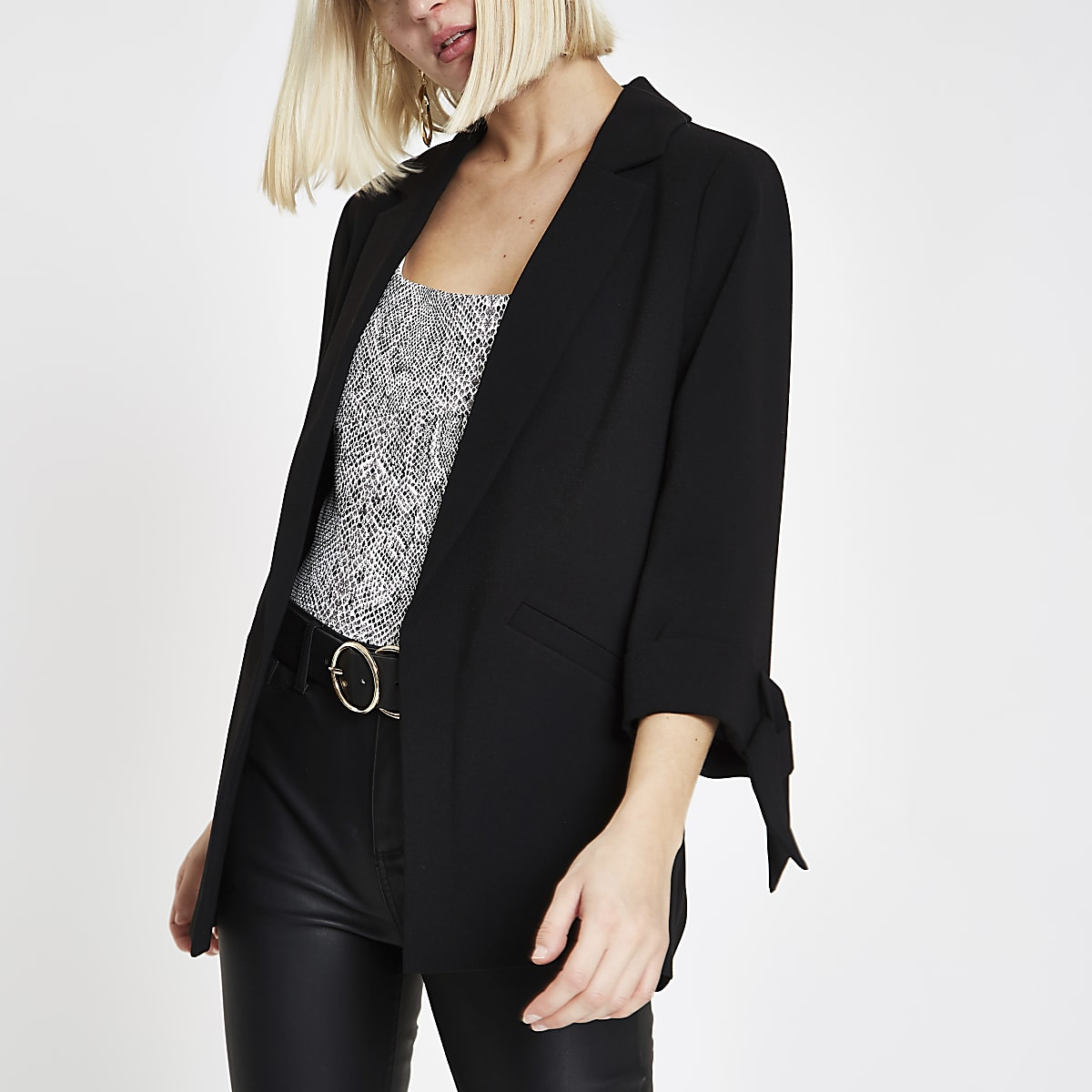 Black bow cuff blazer