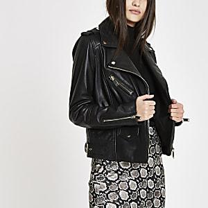 Schwarze Premium-Bikerjacke aus Leder
