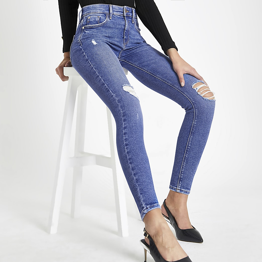 Bright blue Amelie super skinny ripped jeans