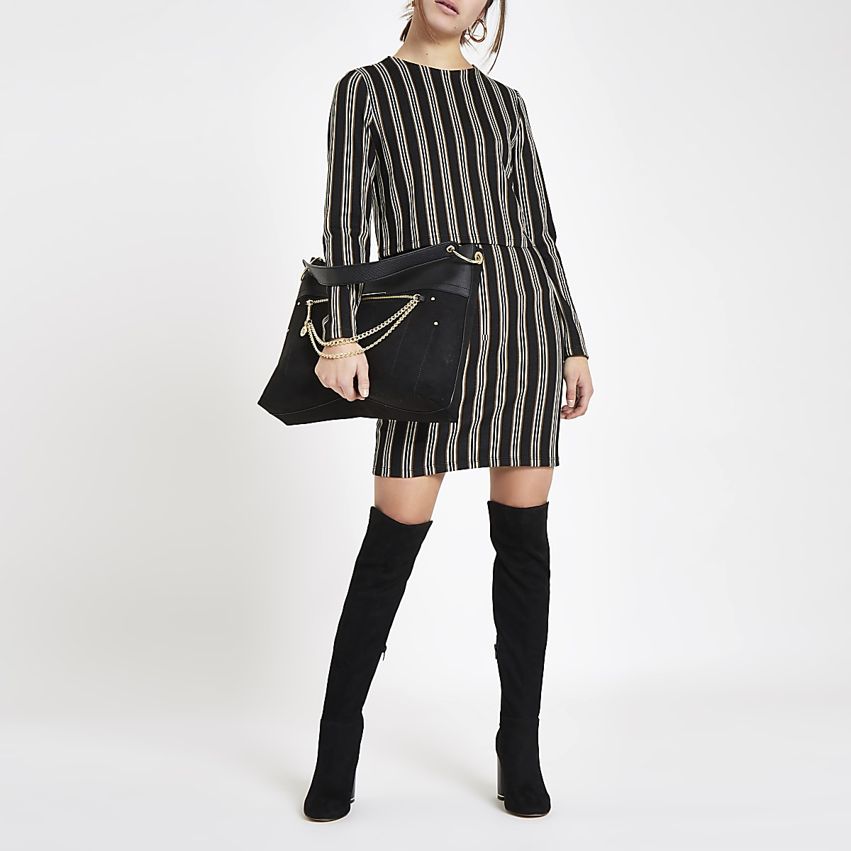 Petite brown stripe long sleeve bodycon dress