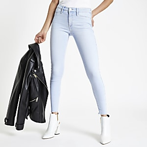 Molly – Jegging bleu clair effiloché