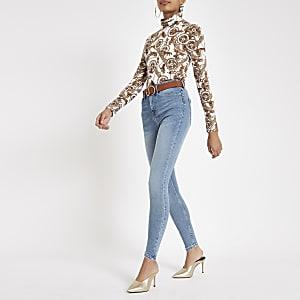 Harper - Middenblauwe jeans met hoge taille
