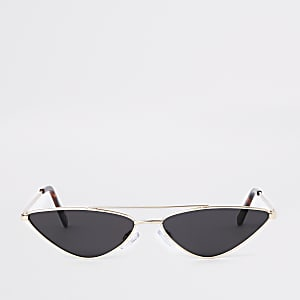 Gold metal frame slim sunglasses