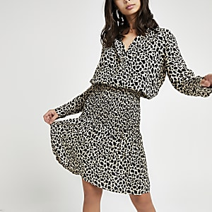 Black leopard print shirred shirt dress