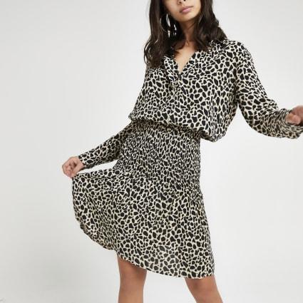 Black leopard print shirred shirt dress