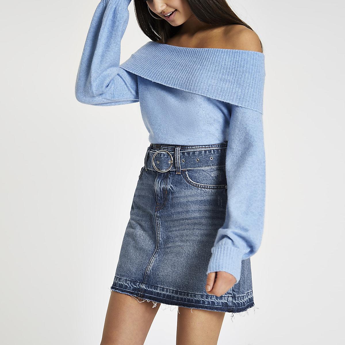 Blue belted denim mini skirt