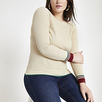 Plus cream tipped boat neck top