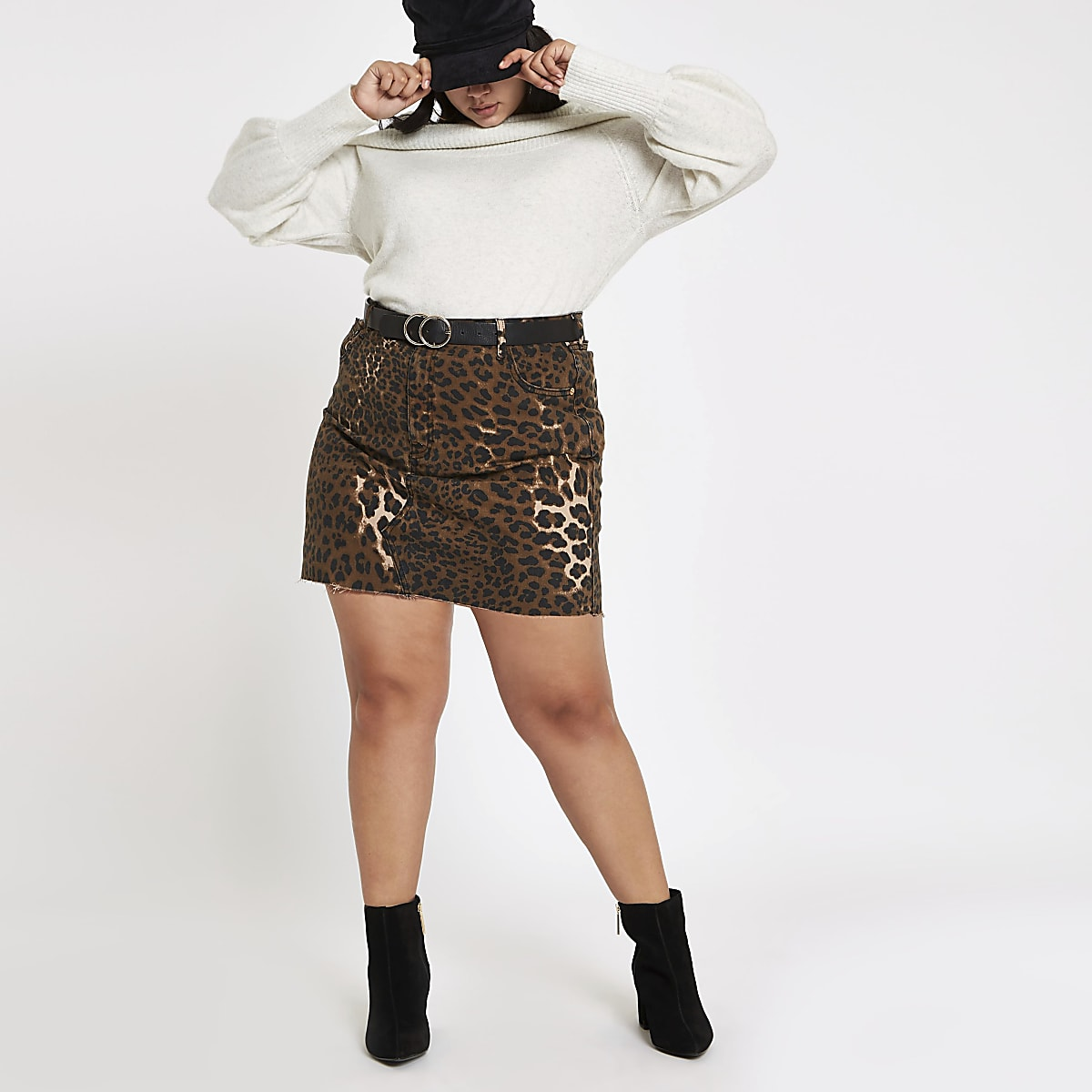Plus brown leopard print denim mini skirt