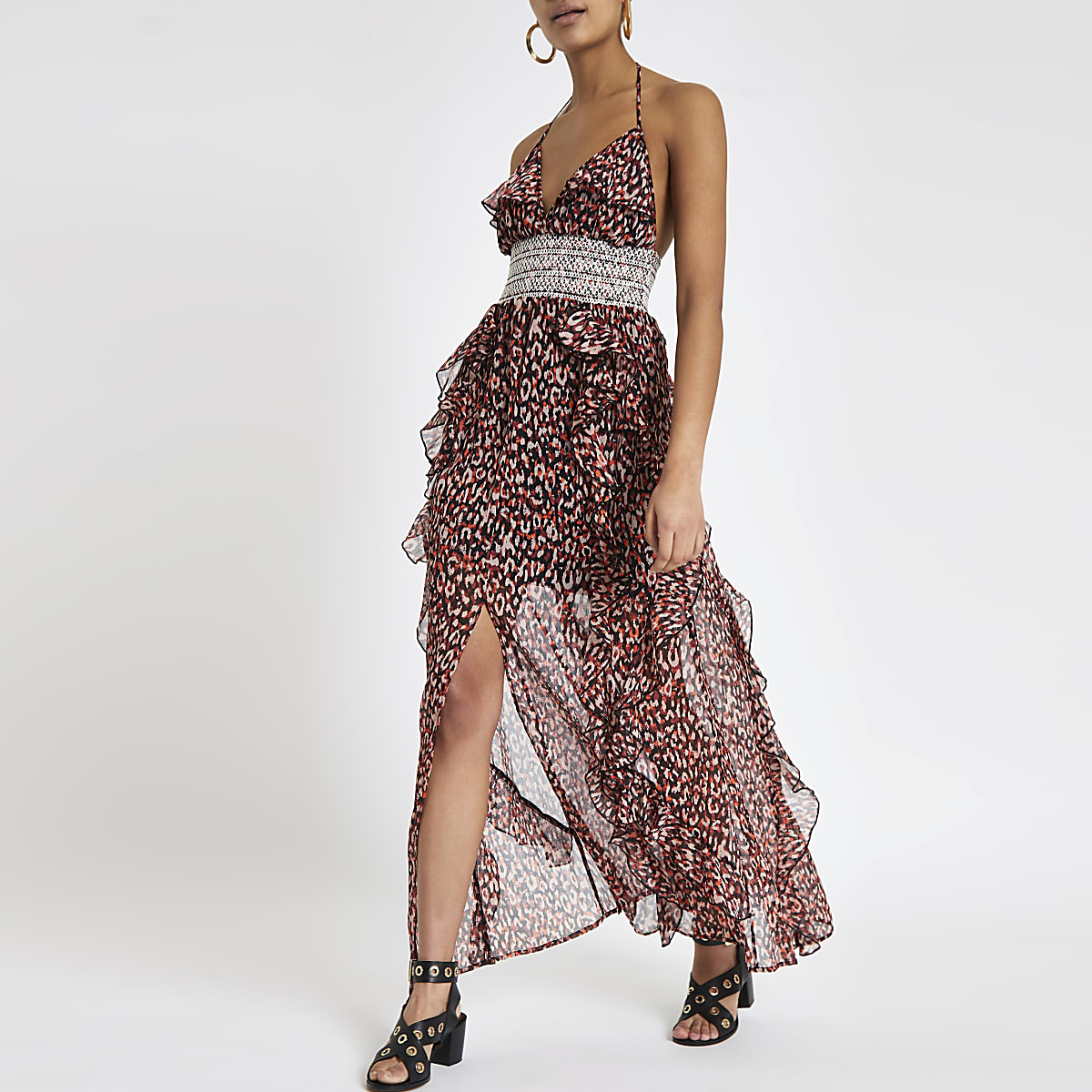 Red print frill maxi dress