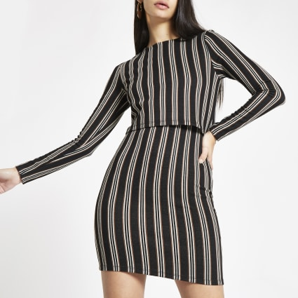 Brown stripe long sleeve bodycon mini dress