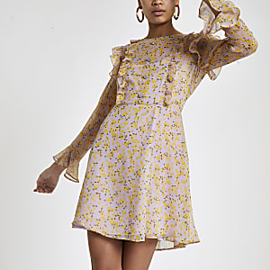 Purple floral frill long sleeve tea dress