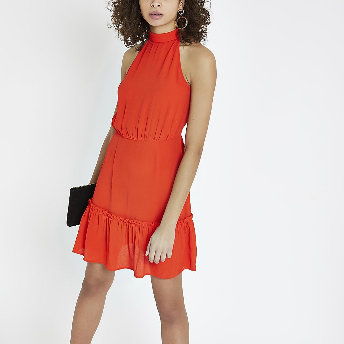 Red high tie neck swing dress
