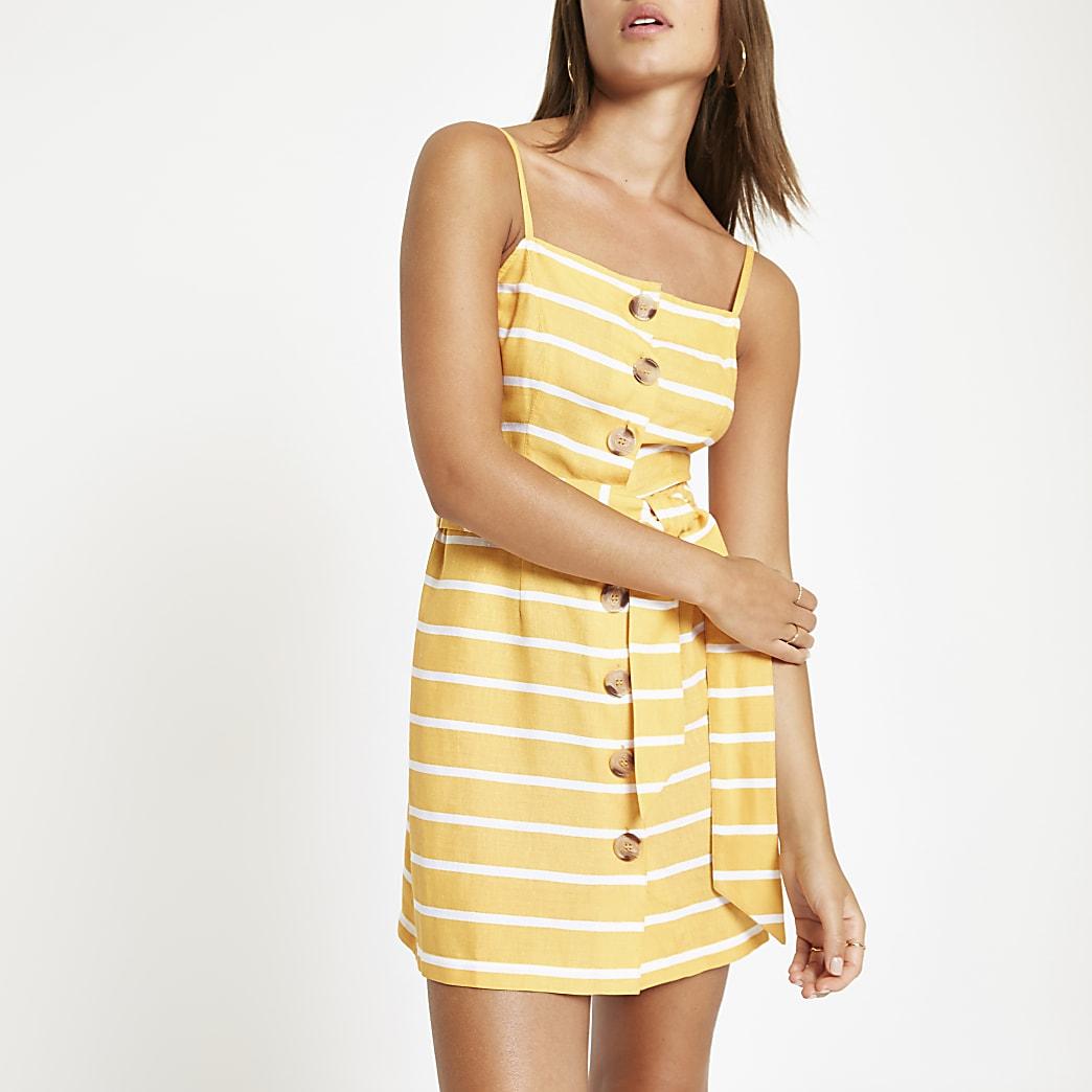 Orange stripe button tie waist beach dress
