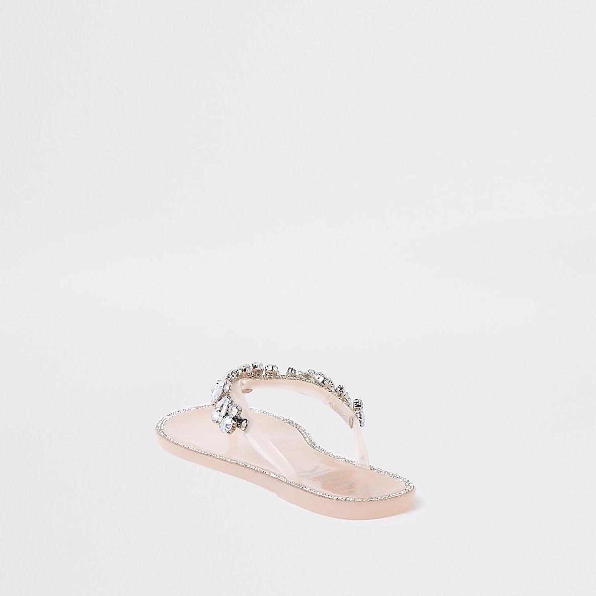269bdab75 Light pink gem embellished jelly flip flops - Sandals - Shoes ...
