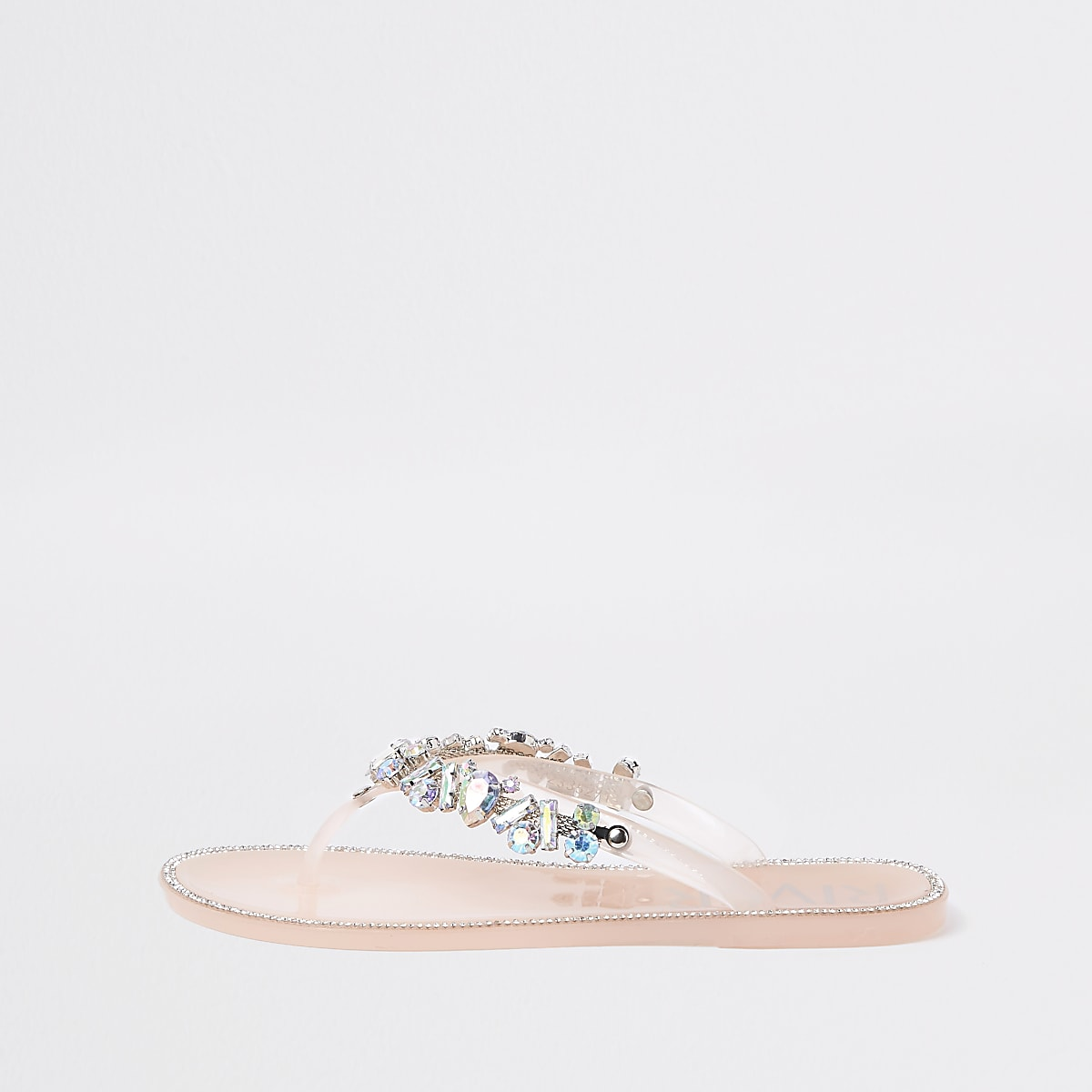 Light pink gem embellished jelly flip flops