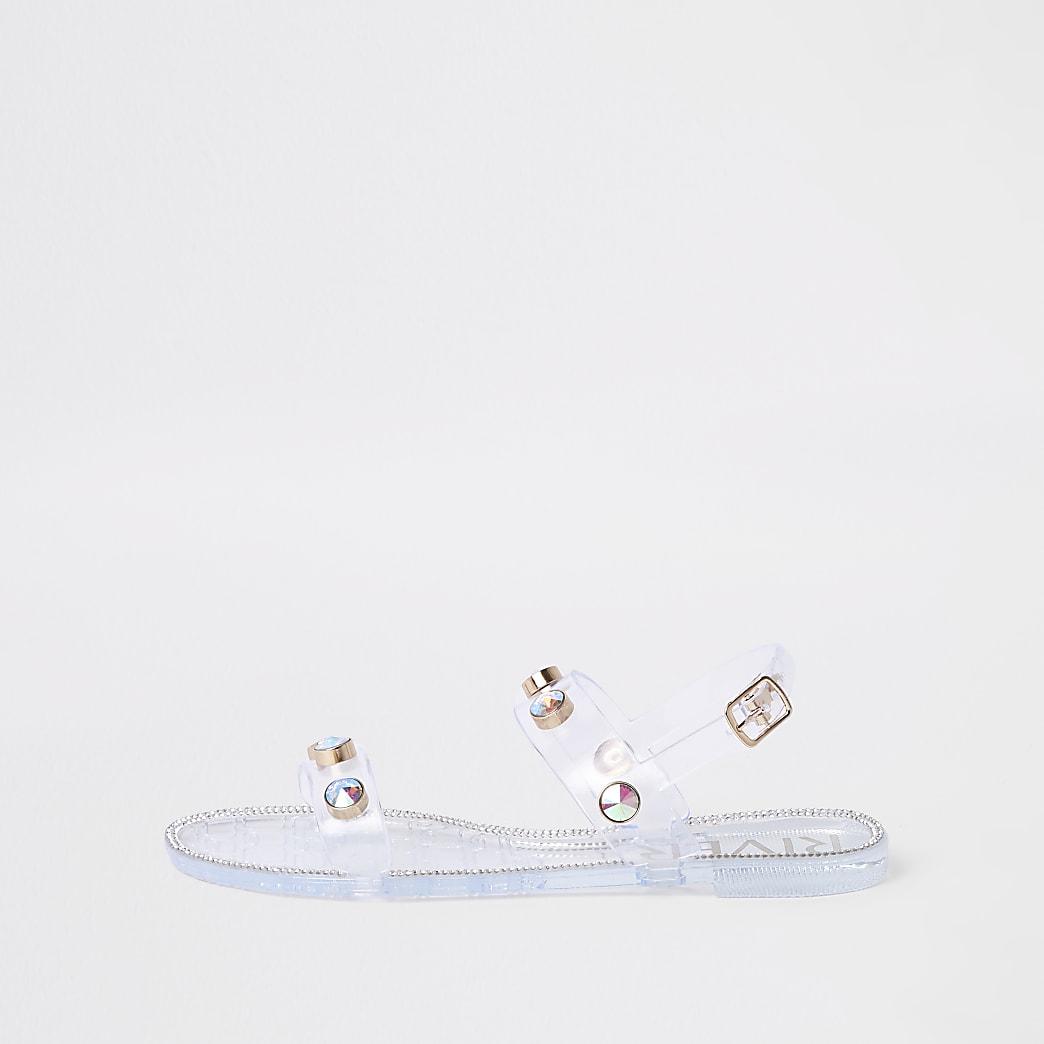 Doorzichtige jelly sandalen met siersteentjes