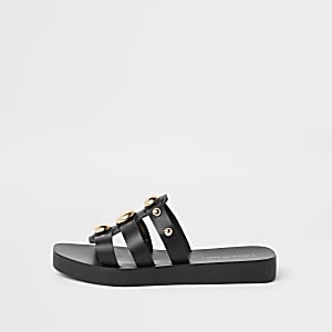 Black leather studded mule sandal