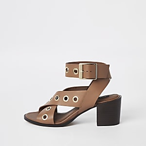 Brown leather eyelet block heel sandals