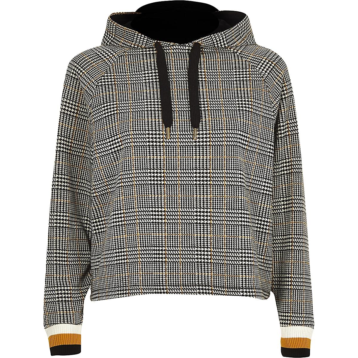 f5b4f1e372d6 Petite brown check long sleeve hoodie - Hoodies   Sweatshirts - Tops ...